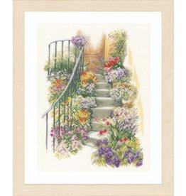 Vervaco Borduurpakket trap met bloemen kaarslinnen