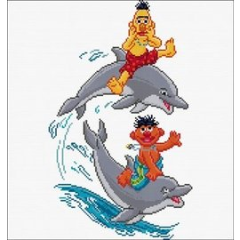 Thea Gouverneur Borduurpakket Sesamstraat dolfijnen