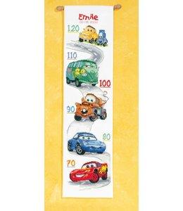 Vervaco Borduurpakket Cars - groeimeter