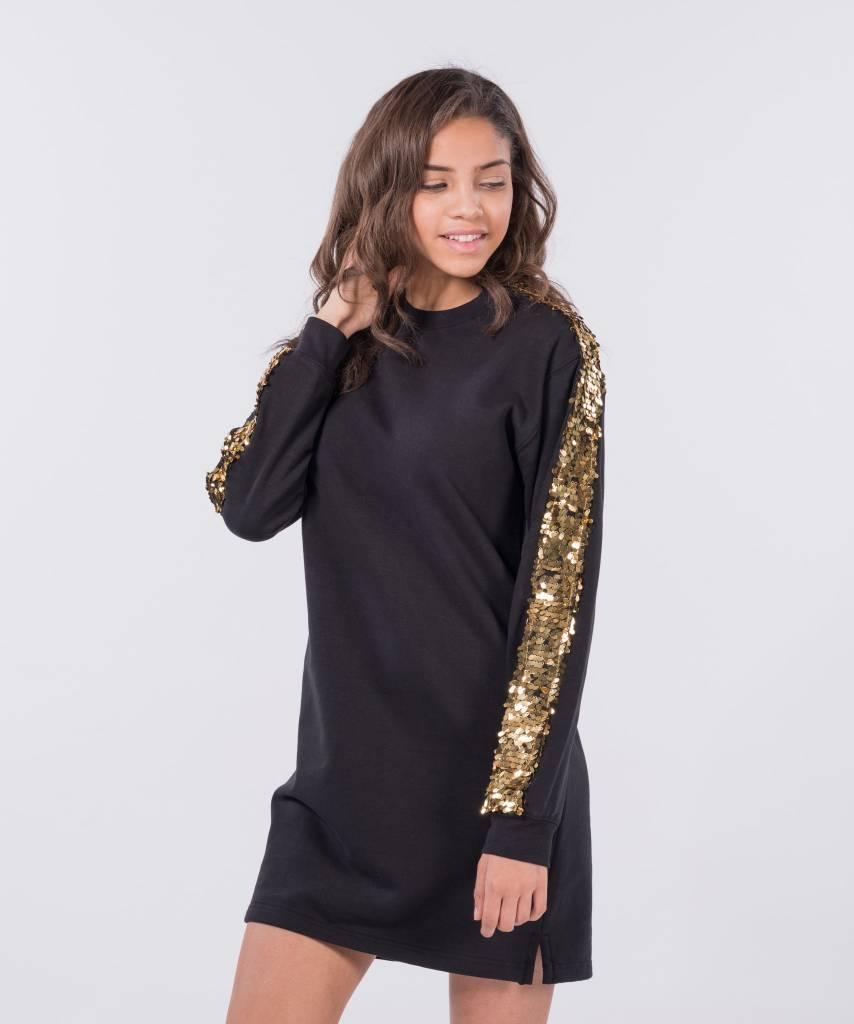 fbe3b98c64b Sweater Dress Black Big Gold