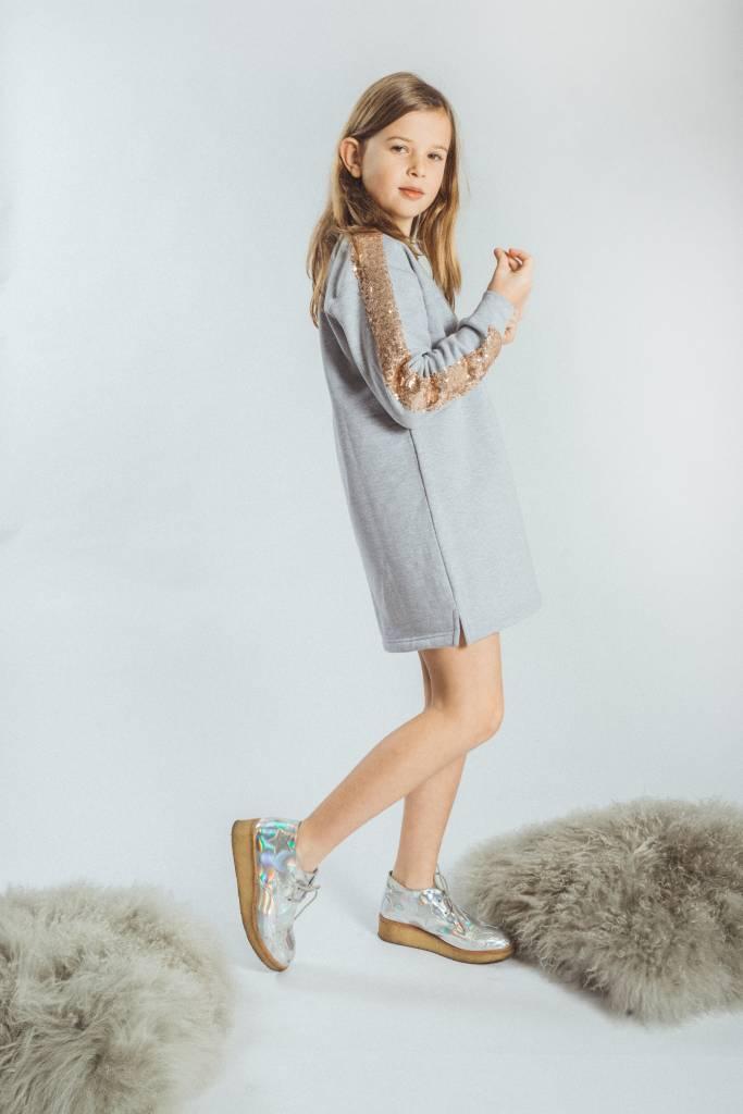 a27ed37adcb KIDS Sweater dress Light Grey Champagne