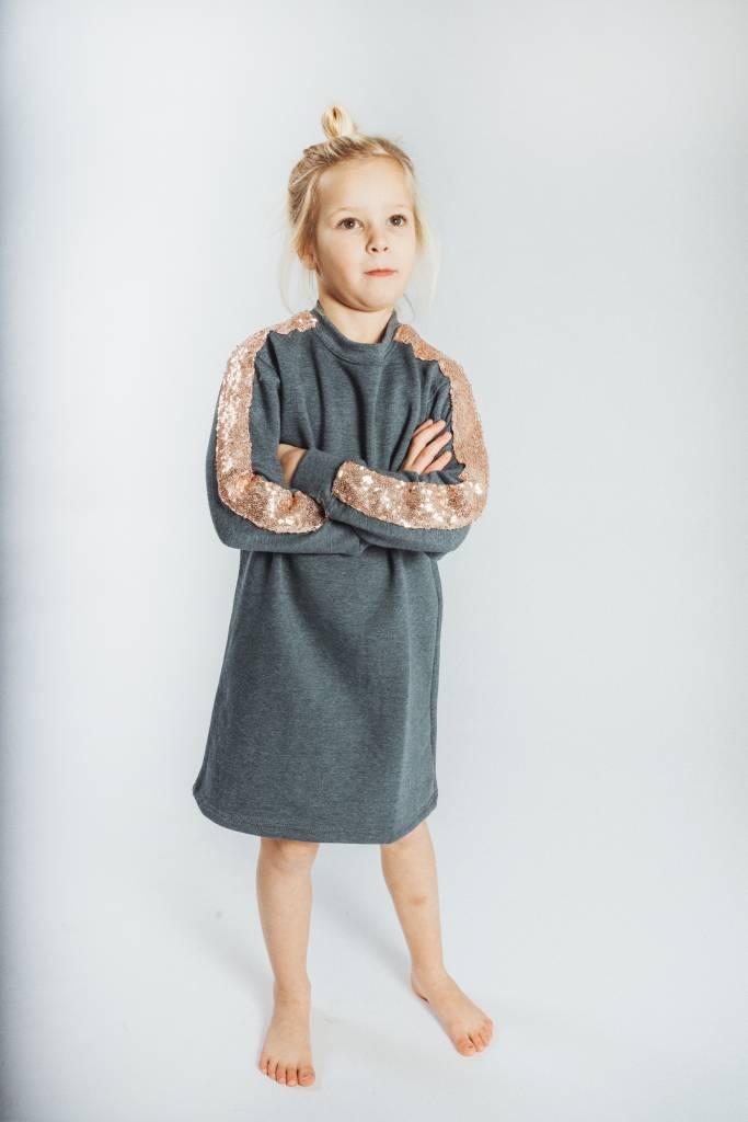 2bc8b15e336 KIDS Sweater Dress Dark Grey Champagne