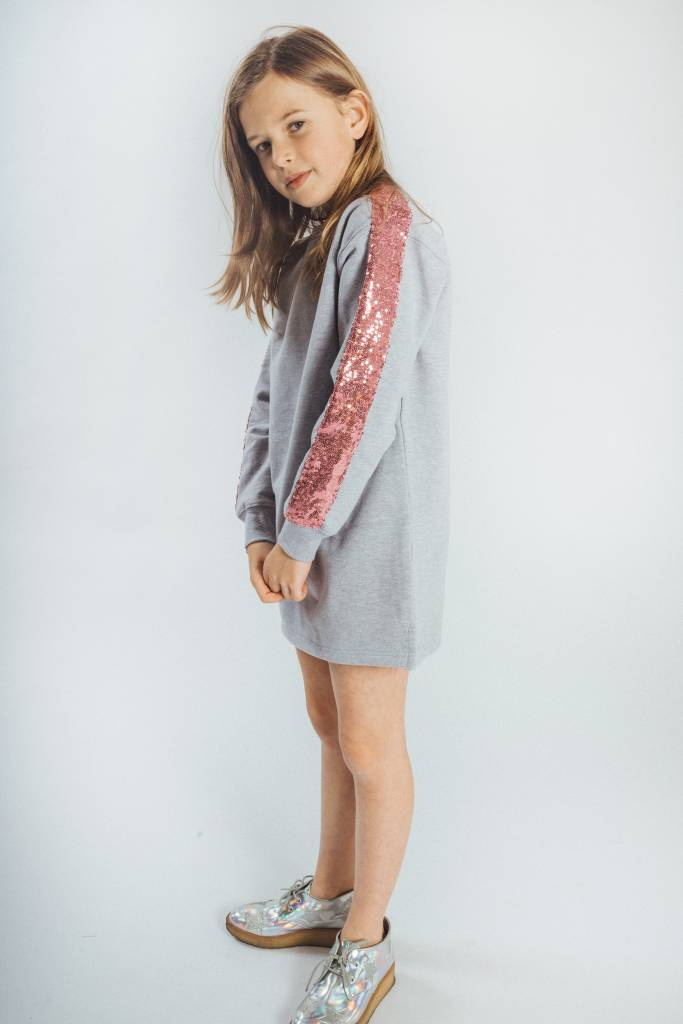 d192d3e6157 KIDS Sweater Dress Light Grey Pink