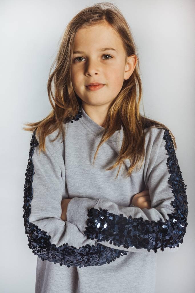 0becf267719 KIDS Sweater Dress Light Grey Big Dark Blue