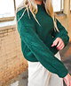 Cable Sleeve Pullover Forest Green