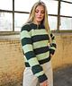 Puff Sleeve Pullover Striped Green