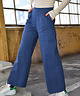 Wide Leg Tailored Trousers Navy Blue