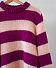 Puff Sleeve Pullover Striped Pink