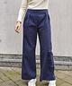 Wide Leg Trousers High Waist Navy