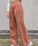 Wide Leg Trousers High Waist Rust