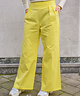 Wide Leg Trousers High Waist Lemon Yellow