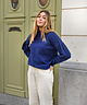 Puff Sleeve High Neck Pullover Navy