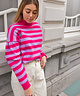 Puff Sleeve High Neck Pullover Lilac/Pink