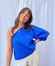 One-Shoulder Blouse Royal Blue