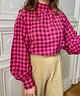 Pink Checkered Collar Blouse