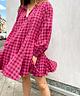 Pink Checkered Trapeze Dress