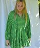 Green Checkered Trapeze Dress
