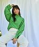 Green Checkered Collar Blouse