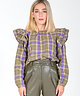 Checkered Heidi Blouse Khaki
