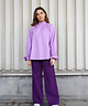 High Collar Melly Blouse Lilac