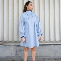 High Collar Melly Dress Light Blue