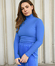 Ribbed High Neck Pullover Bright Blue