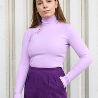 Ribbed High Neck Pullover Lilac