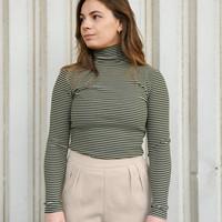 Striped High Neck Pullover Khaki/White