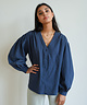 Krissy V-Neck Shirt Navy Blue
