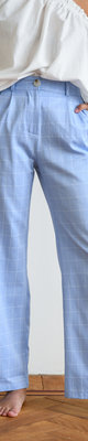Mila Checkered Trousers Light Blue