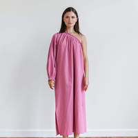 One-Sleeve Maxi Dress Pink