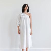 One-Sleeve Maxi Dress White