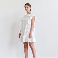 Ruffle Mini Dress White