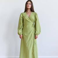 Maxi Wrap Dress Lime Green