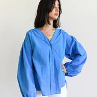 Krissy V-Neck Shirt Bright Blue