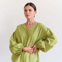 Krissy V-Neck Shirt Lime Green