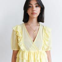 Plain Ruffle Blouse Yellow