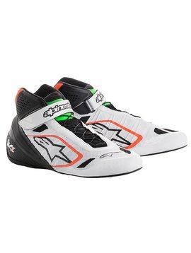 Alpinestars Tech-1 KZ Chaussures Blanc/Noir/Orange Fluo/Vert Fluo