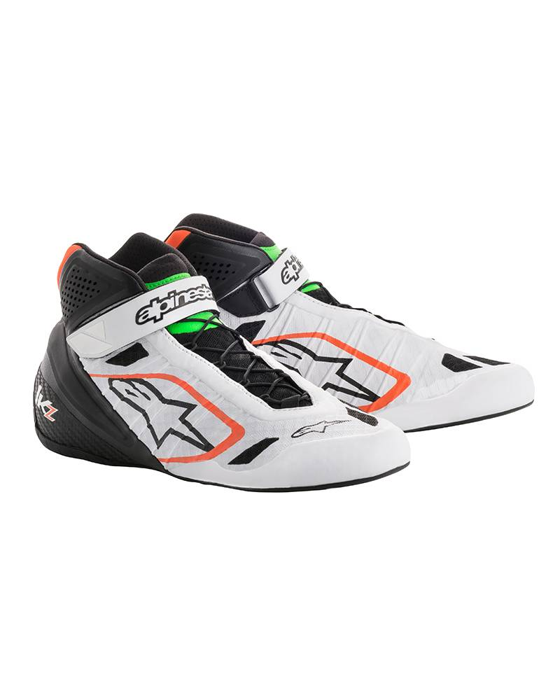 Alpinestars Tech-1 KZ Shoes White/BlackOrange Fluo/Green Fluo