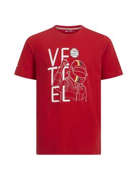 Ferrari Kids Vettel Driver Tee 2019 - Rot