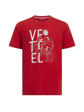 Ferrari Kids Vettel Driver Tee 2019 - Rouge