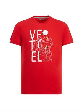 Ferrari Mens Vettel Driver Tee 2019 - Rouge