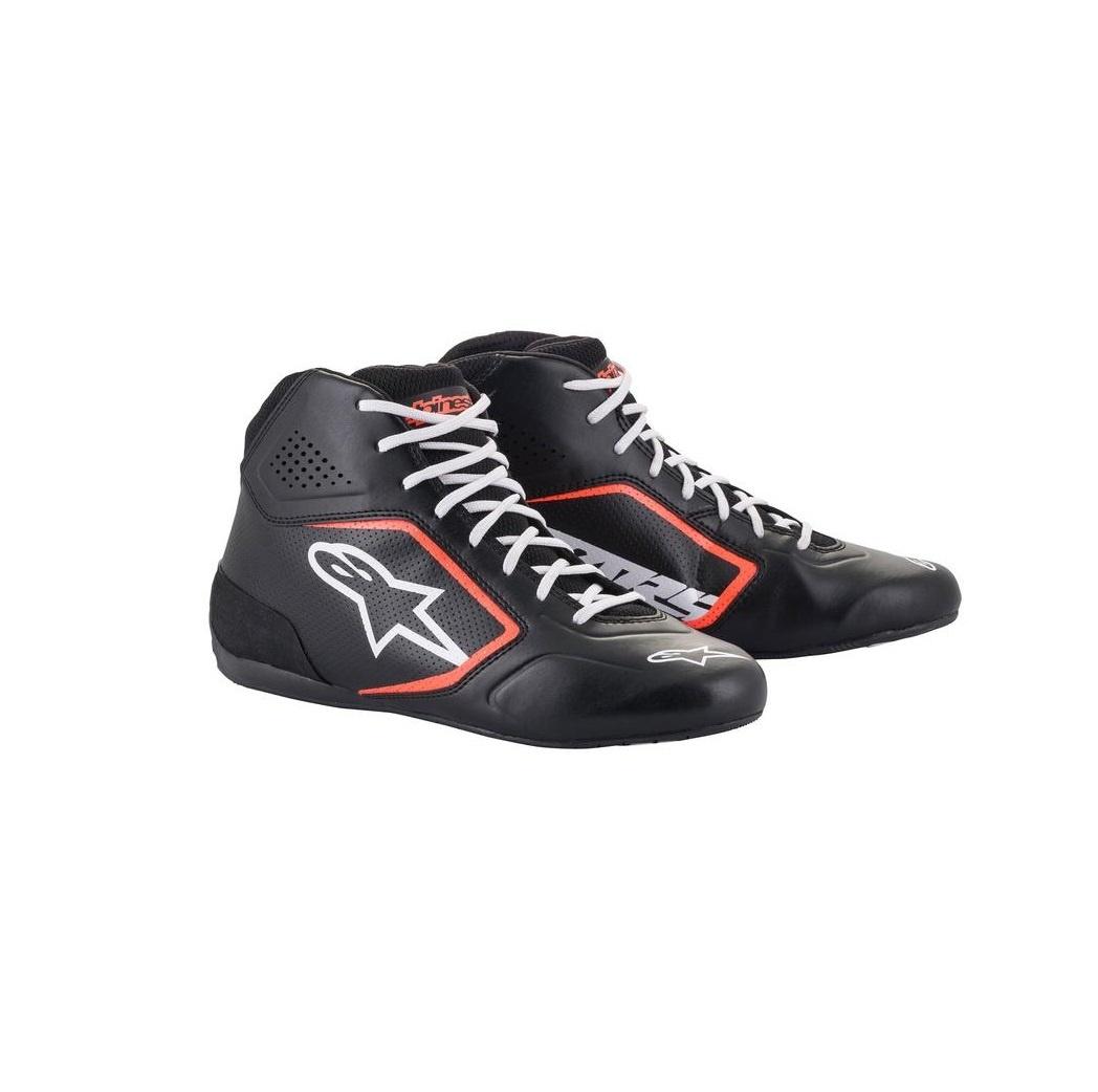 Alpinestars Tech-1 K Start v2 Shoe Noir Blanc Rouge Fluo