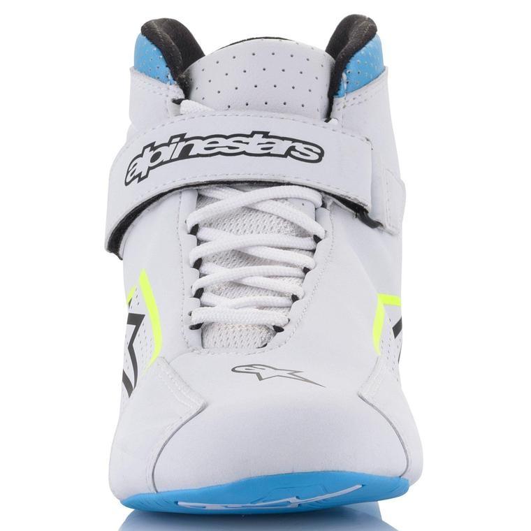 Alpinestars Tech-1 K Shoe Blanc Jaune Fluo Light Bleu