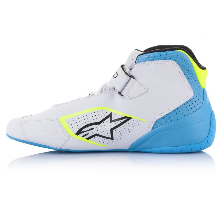 Alpinestars Tech-1 K Shoe White Yellow Fluo Light Blue