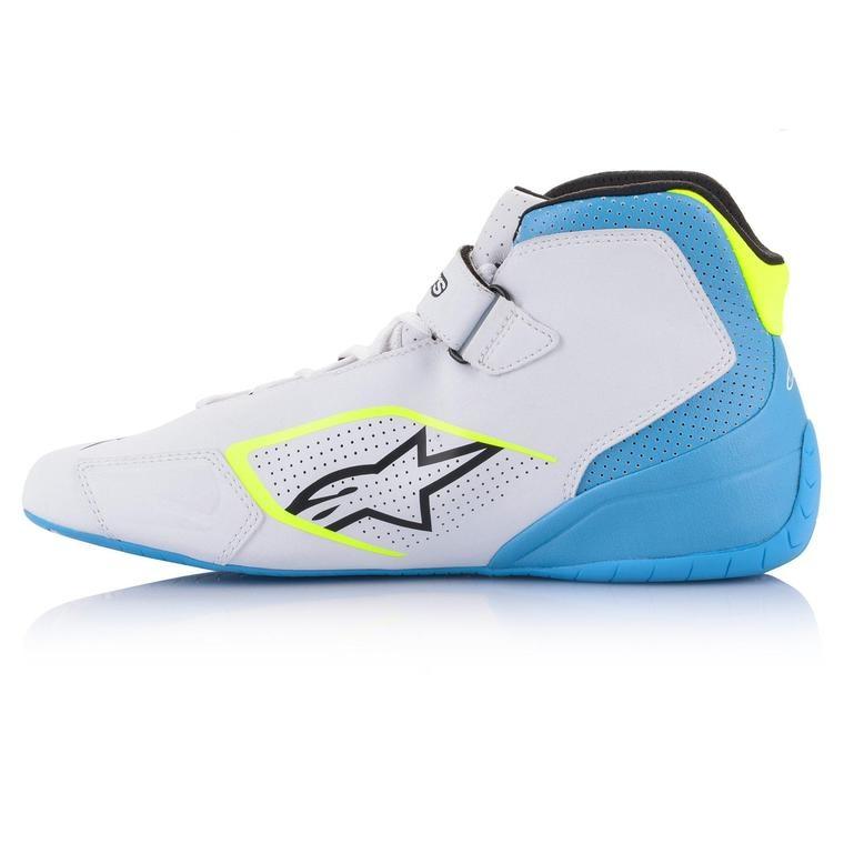 Alpinestars Tech-1 K Shoe Wit Geel Fluo Light Blauw