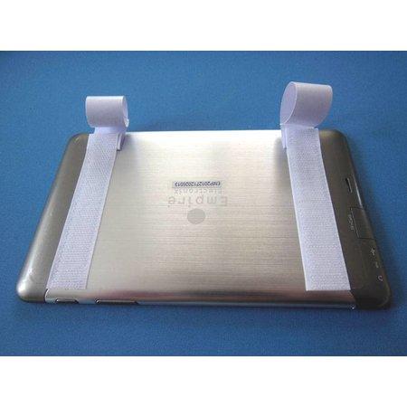 DynaLok Haakband (harde kant) met plakstrip, 25 mm. breed, wit, binnengebruik