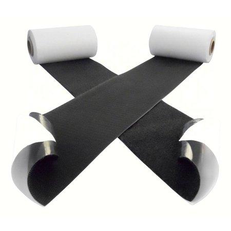 DynaLok Klittenband met plakstrip, harde + zachte kant, 100 mm. extra breed, zwart, binnengebruik