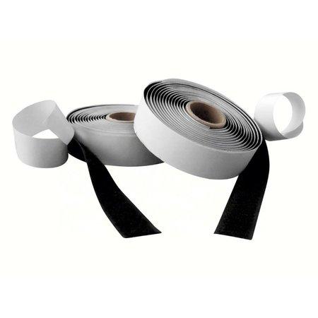 DynaLok Klittenband met plakstrip (harde + zachte kant), 20 mm. breed, zwart, buitengebruik