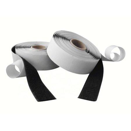 DynaLok Klittenband met plakstrip (harde + zachte kant), 25 mm. breed, zwart, binnengebruik